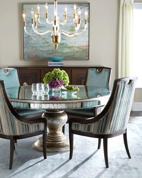 Custom round starfire mirrored dining table with mirrored side Baguettes  and pedestal stand base
