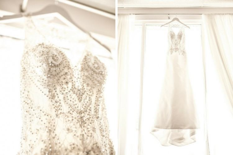 Bride Portrait on Stairs in Lace and Illusion Tank Top Strap and Low Back Wedding  Dress | St