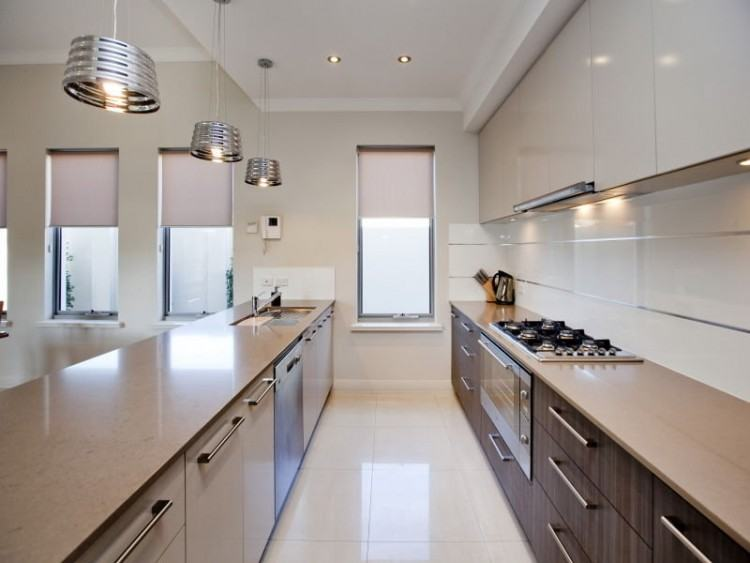 White Carved Traditional Kitchen Ceiling Tone Cabinets Darker Molding  Painted Moldings Dark Stained Island Plank Wood Flooring Interior Design  Small Galley