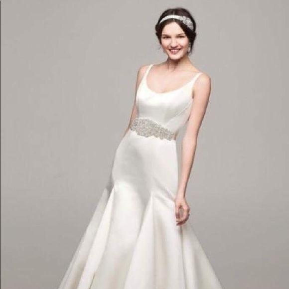 David's Bridal Bride Dresses | David's Bridal Wedding Dress: Organza Split  Front Gown with Floral