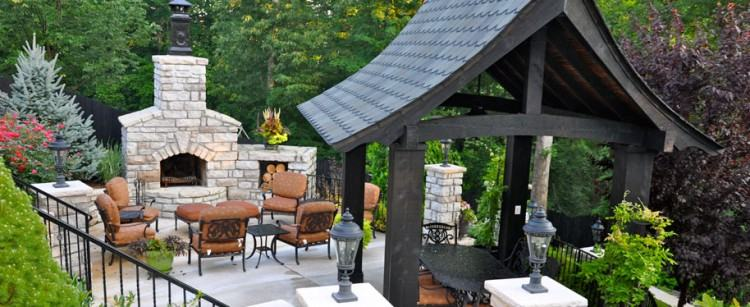 outdoor living room on open patio with fireplace
