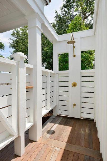 Above: The freestanding shower is sited at the edge of a terrace near the  master bedroom