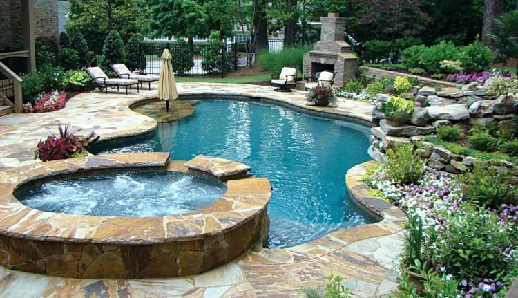 Fireplace next to the pool offers a wonderful focal point for the outdoor  lounge | Garden ideas | Pinterest | Outdoor lounge, Design trends and  Landscape