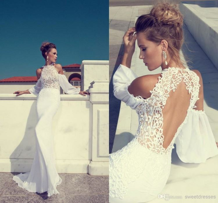 Discount Simple Lace Off Shoulder Beach Wedding Dresses 2016 White Tulle A  Line Bridal Gowns Floor Length Chiffon Bridal Vestidos Custom Made Mermaid