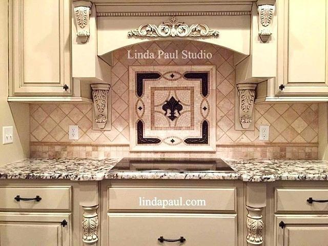 tile backsplash medallions metal kitchen insert tiles