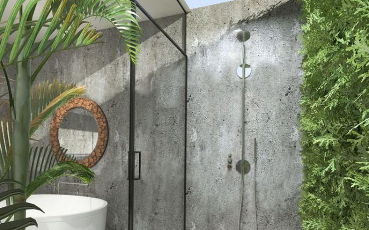 Outdoor shower head spraying water