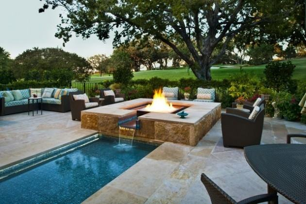 Now trending: pool design with sunken seating and firepit/swim up bar