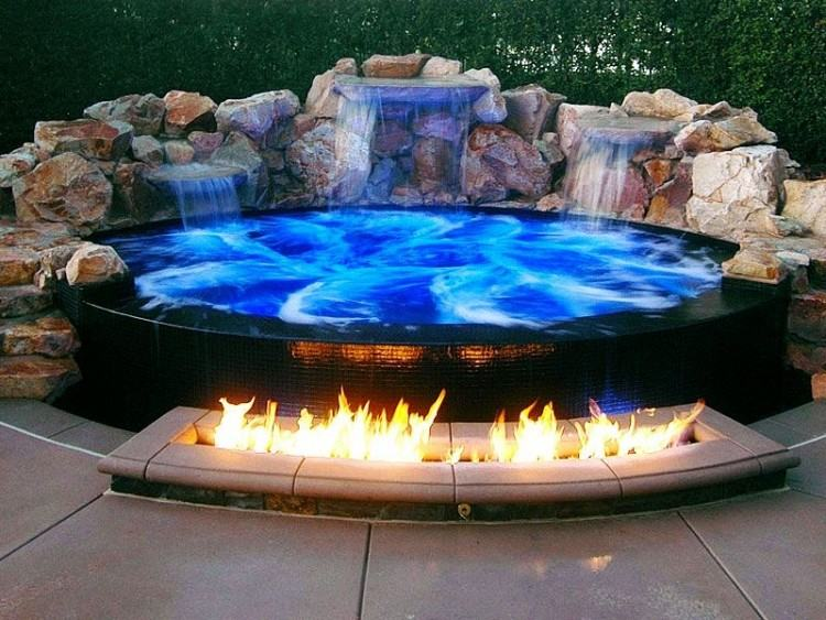 OMG this pool fire pit!!! | Swimming Pool Ides | Swimming Poll Design |  Above Ground Swimming Pool #swimmingpoolideas #smallswimmingpool