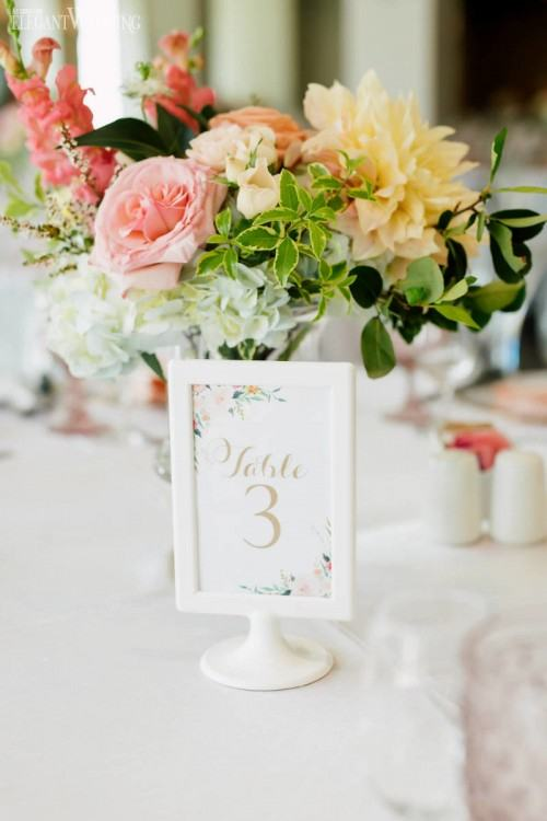 Rentals + Linen: Kirby Rentals | Signage & Calligraphy: nategeoGraphics  | Venue: Private Residence in Winter Park, Florida | Paper Flower Backdrop:  Etsy