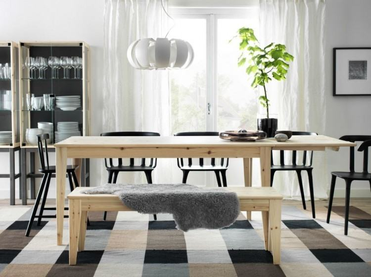 solid wood stripes Lacquered brown dining table furniture design walnut  material dark brown leather bench and chairs on contemporary broken white  fur rug,