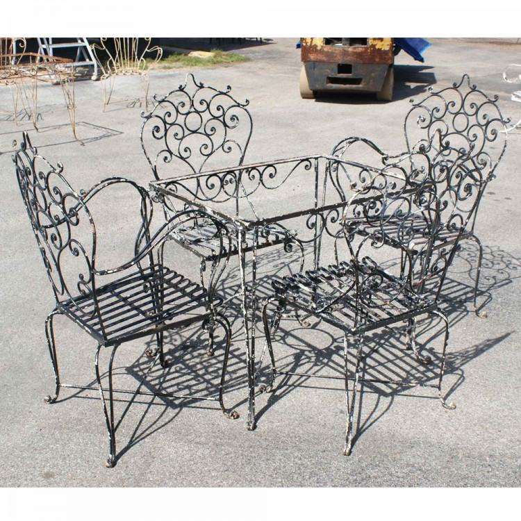 Rod Iron Patio Furniture Vintage Woodard Wrought Outdoor 11 Piece Set  In: