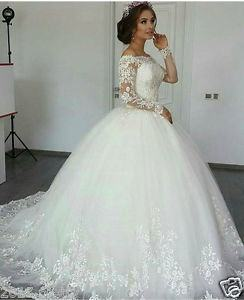 com: BARWA White Wedding Dress with Long Veil Evening Party Princess  White Lace Gown Dress for 11