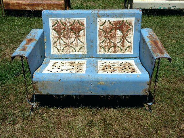 metal patio glider bench restored vintage