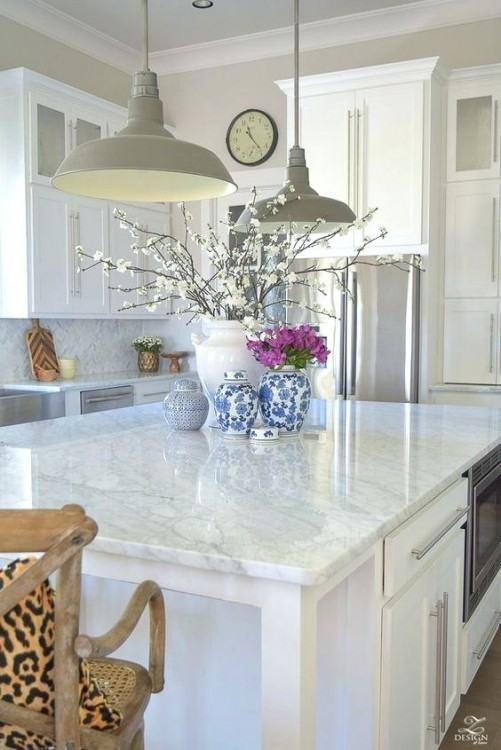 Beautiful Chiseled edge white  marble countertop