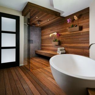 modern white bathroom with dark wood floor hardwood ideas
