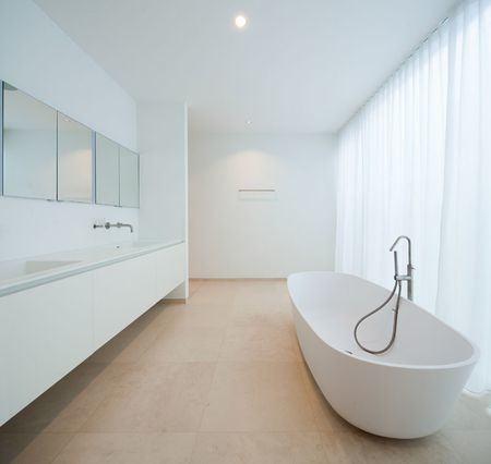 Oval White Porcelain Freestanding Bathtub White Wall Hung Sink Minimalist  Brown Wall Color Inspiring Wall Color Freestanding Sink Vanity Modern  Bathroom