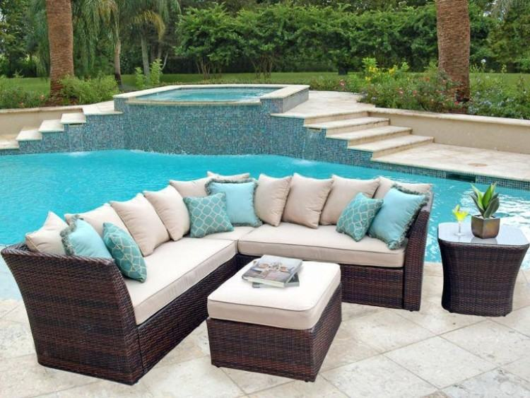 Belham Living Meridian Round Outdoor Wicker Patio Furniture Set with  Sunbrella Cushions | from hayneedle