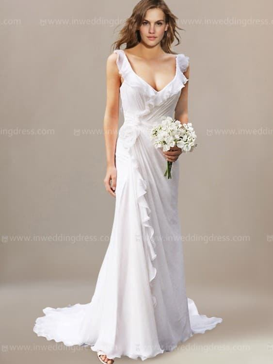 Goddesses Tropical Beach Wedding Dresses Illusion Top Lace Bodice Boho  Cheap Country Bridal Gowns Crew Neckline Sweep Train Robes De Mariée Bridal  Gowns