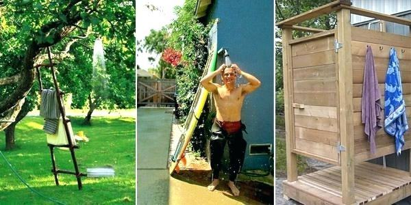 Plumbing pipe is an inexpensive—and intrinsically waterproof—framing system  for an outdoor shower