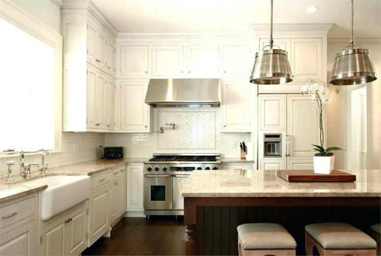 Off White Kitchen with Neutral  Backsplash