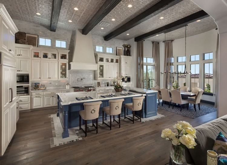 The beams and columns also help define the  kitchen apart