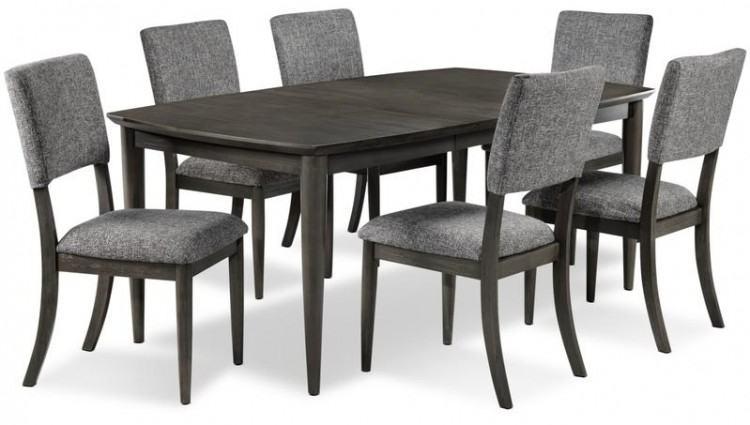 distressed gray dining table round set finish grey wood black distress
