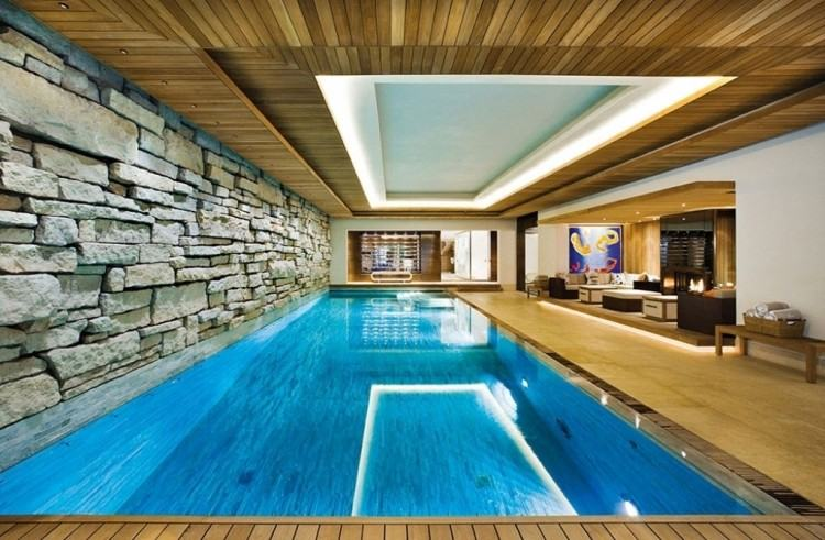 The indoor pool in the townhouse on Rue Crillon, Paris