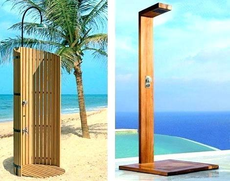 Flat and square with an emphasis on their shapes, modern outdoor showers  are just a bit showy