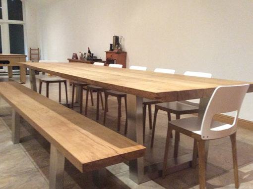 Solid chunky pine dining table and 6 chairs