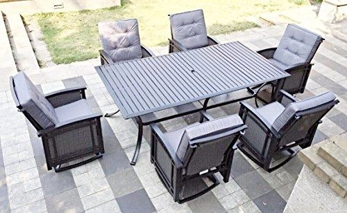 Westin 7pc Aluminum Patio Dining Set with Slat Top, Swivel Rocking Chairs