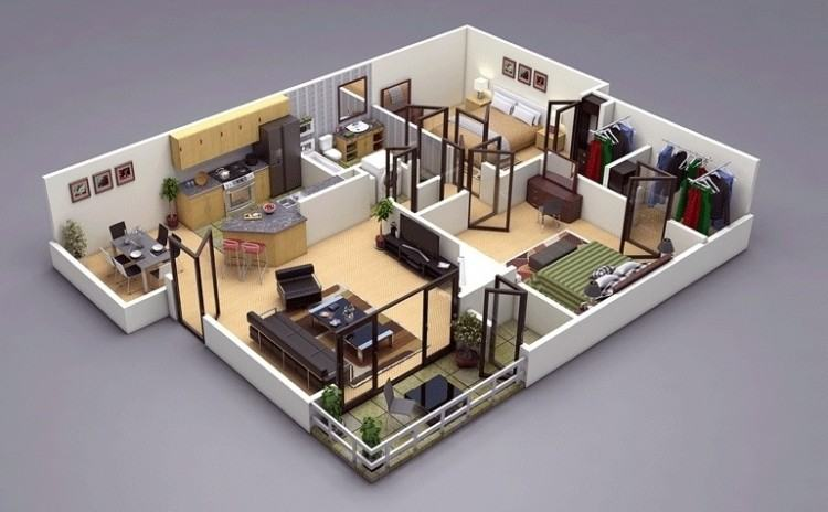, 2 bedrooms and 1  bathroom
